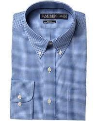 Lauren by Ralph Lauren - Slim Fit No-iron Cotton Dress Shirt (sulphate Blue/white) Men's Long Sleeve Button Up - Lyst