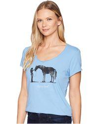 Life Is Good. - Besties Horse Smooth T-shirt (powder Blue) Women's T Shirt - Lyst