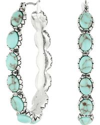 Lucky Brand - Oblong Turquoise Inlay Hoop Earring (turquoise) Earring - Lyst