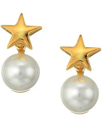 Kenneth Jay Lane - Polished Gold Star Top And White Pearl Bottom Post Earrings - Lyst