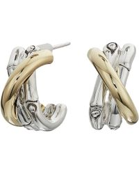 John Hardy - Bamboo Small J Hoop Earrings In 18k Gold (silver) Earring - Lyst