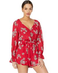 63629b9a038 Cupcakes And Cashmere - Lilirose Printed Romper (cherry Red) Women s  Jumpsuit   Rompers One