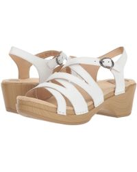 3dc93d80fcb3 Lyst - Dansko Vera Metallic Nappa Leather Banded Ankle Strap Wedge ...