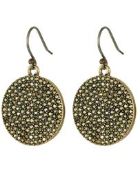 Lucky Brand - Gold Pave Disk Earring - Lyst