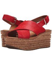 Franco Sarto - Sarto By Caroline Calf Hair Platform Wedge Sandals - Lyst