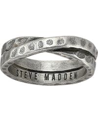 Steve Madden - Hammered Cross Over Band Ring In Oxidized Stainless Steel (silver) Ring - Lyst