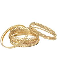 Guess - Six Piece Textured Bangle Set (gold) Bracelet - Lyst