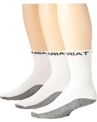 Ariat - Workboot Sock 3-pack (white) Men's Crew Cut Socks Shoes - Lyst