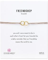 Dogeared - Friendship Double Linked Rings Silk Bracelet (taupe/gold Dipped) Bracelet - Lyst