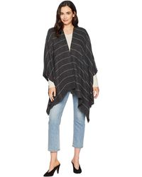 Calvin Klein - Striped Woven Ruana (heathered Coal) Women's Clothing - Lyst