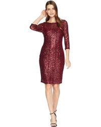 Marina - Short Slim Sequin Dress With 3/4 Sleeves And V-back (navy) Women's Dress - Lyst