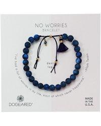 Dogeared - No Worries Bracelet, Matte Denim Lapis Bead Stone Bracelet With Nylon Pull Cord (gold Dipped) Bracelet - Lyst