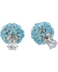 Nina - Front To Back Flower Ball Earrings (gold/white Cz) Earring - Lyst