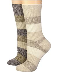 Columbia - 2-pack Marled Stripe Micro Poly Crew (black) Women's Crew Cut Socks Shoes - Lyst