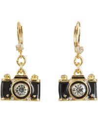 Betsey Johnson - Royal Engagement Camera Stud Earrings (black/gold) Earring - Lyst