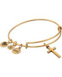 ALEX AND ANI - Cross Ii Bangle (rafaelian Gold) Bracelet - Lyst