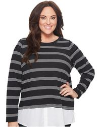 Calvin Klein - Plus Size Textured Stripe Twofer (black/white Perforated) Women's Long Sleeve Pullover - Lyst