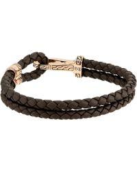 John Hardy - Classic Chain Hook Clasp Bracelet In Brown Leather (silver/bronze) Bracelet - Lyst