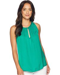 Vince Camuto - Sleeveless Rumple Keyhole Halter Blouse (jungle Green) Women's Clothing - Lyst