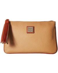 Dooney & Bourke - Pebble Carrington Pouch (black/tan Trim) Handbags - Lyst