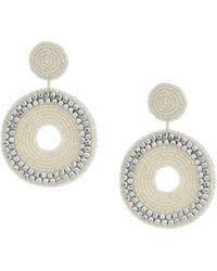 Kenneth Jay Lane - Seedbead Circle Drop Direct Post Earrings (silver) Earring - Lyst