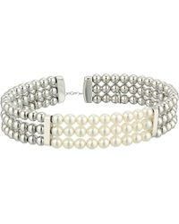 Majorica - 4mm Round Pearls On Steel Beaded Bangle With Security Chain (white) Bracelet - Lyst