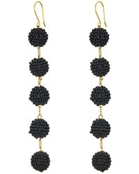 Chan Luu - 5 Tiered Seed Bead Pom Pom Earrings - Lyst