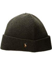 Polo Ralph Lauren - Signature Merino Cuff Hat (aged Wine Heather) Caps -  Lyst 814b6d08f35a