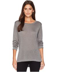 Nally & Millie - Long Sleeve High-low Tunic With Side Slits (steel) Women's Blouse - Lyst