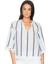 Two By Vince Camuto - Sheer Stripe Poncho With Pom Pom Trim - Lyst
