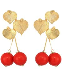 Kenneth Jay Lane - 2.5 Satin Gold Leaves With Cherry Drop Post Earrings (satin Gold/red) Earring - Lyst