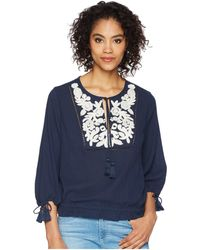 Lucky Brand - Embroidered Tassel Top (american Navy) Women's Clothing - Lyst