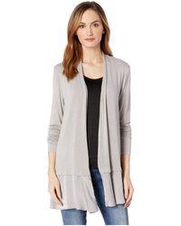 Mod-o-doc - Rayon Spandex Slub Jersey Cardigan With Satin Flounce Hem (silverstone) Women's Sweater - Lyst