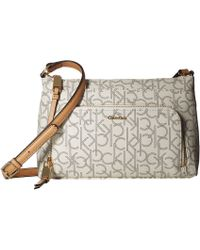 Calvin Klein - Key Item Monogram Multi Entry Crossbody (almonf Khaki/camel) Cross Body Handbags - Lyst