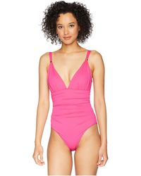Lauren by Ralph Lauren - Beach Club Solids Slimming Fit Corset One-piece (passion Fruit) Women's Swimsuits One Piece - Lyst