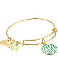 ALEX AND ANI - Words Are Powerful Love Peace Joy Bangle (shiny Gold) Bracelet - Lyst