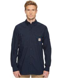 Carhartt - Force Ridgefield Solid Long Sleeve Shirt (navy) Men's Long Sleeve Button Up - Lyst