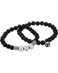 Steve Madden - Lava Stone With Skull Head Charm Stretch Duo Bracelet Set In Stainless Steel (black/silver) Bracelet - Lyst
