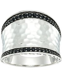 John Hardy - Hammered Saddle Ring With Black Sapphire And Spinel - Lyst