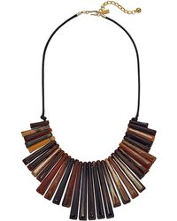 Kenneth Jay Lane - Black Thread Tortoise Spikes Front With Polished Gold Chain Necklace (tortoise) Necklace - Lyst
