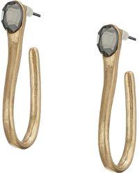 Robert Lee Morris - Stone Sculptural Curved Hoop Earrings (black Diamond) Earring - Lyst
