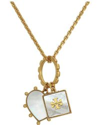 Tory Burch - Semi-precious Charm Necklace (vintage Gold/malachite/lapis) Necklace - Lyst