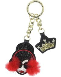 Alice + Olivia Stace Face Muffs Crown Embroidered Key Charm - Multicolor