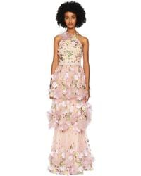 Marchesa notte - Halter Multicolored 3d Floral Embroidered Tiered Gown With Trims (blush) Women's Dress - Lyst