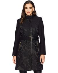Vince Camuto - Belted Mixed Media Wool Coat R1151 (jacquard) Women's Coat - Lyst