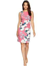 Ivanka Trump - Rounded Neck Sleeveless Floral Dress With Ruched Side - Lyst