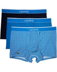 Lacoste | Underwear 3-pack Link Print Cotton Stretch Trunk | Lyst
