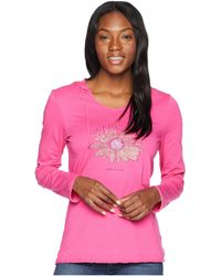 Life Is Good. - Daisy Love Hooded Smooth Tee (fiesta Pink) Women's T Shirt - Lyst