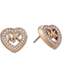 Michael Kors - Love Is In The Air Pave Heart Stud Earrings (gold) Earring - Lyst