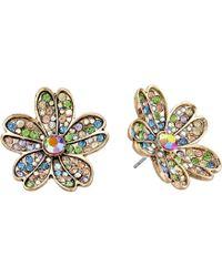 Betsey Johnson - Multicolored Stone Flower Stud Earrings - Lyst